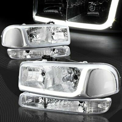 $137.99 • Buy For 1999-2006 GMC Sierra 1500 2500 DRL LED Chrome Clear Headlights+Bumper 4PCS