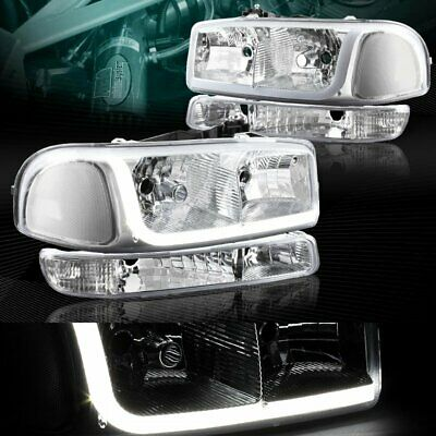 $138.85 • Buy Chrome Drl Led Headlights+bumper Clear Reflector Fit 99-06 Gmc Sierra 1500/2500