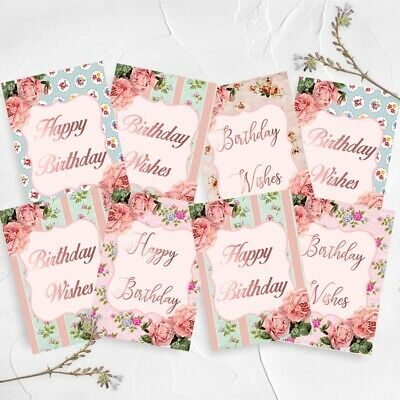 Shabby Chic Birthday Card Toppers, Sentiments Cards, Cardmaking, Greeting Cards • 3£