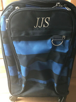 $ CDN75.38 • Buy  Pottery Barn Teen Get Away Getaway Blue Navy Rugby Spinner Luggage MONO JJS