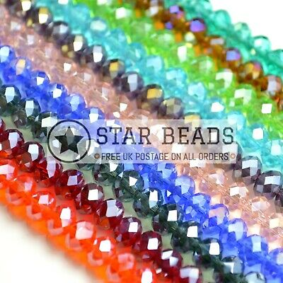 £2.20 • Buy Faceted Rondelle Crystal Glass Beads 4mm,6mm,8mm,10mm - Pick Ab Colour
