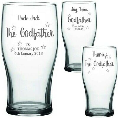 £9.99 • Buy Personalised Engraved PINT GLASS THE GODFATHER/ TINKERBELL GIFTS CHRISTENING