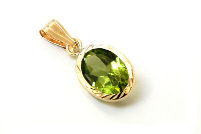 9ct Gold Peridot Pendant Oval Necklace No Chain Gift Boxed Made In UK  • 19.99£