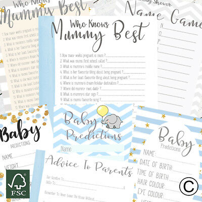 Baby Shower Games For Baby Boy Prediction Cards Who Knows Mummy Best Advice Card • 2.99£