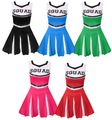 Kids Cheerleader Costume Cheer Leader Outfit Squad Fancy Dress Dance Show • 9.99£