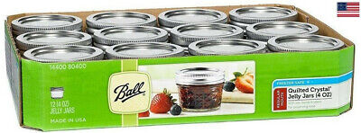 Ball Regular Mouth Canning Mason Jars Quilted Crystal Glass Jelly Jar 4Oz 12/Box • 21.89$