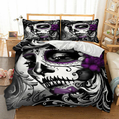 Skull Duvet Cover Tattoo Mask Quilt Cover Bedding Set Pillow Cases All Sizes • 30.99£