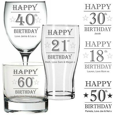 Personalised Engraved PINT GLASS WINE GLASS WHISKY Glass BIRTHDAY 40TH 60TH ANY • 9.99£