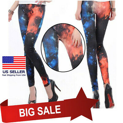 £1.88 • Buy Fashion Womens Digital Print Galaxy Cosmic Black Red Clouds Leggings Slim Pants