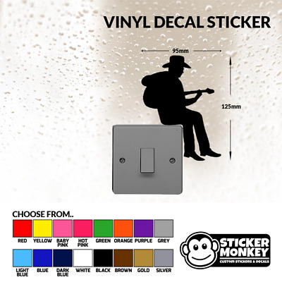 Cowboy Guitar Light Switch / Wall / Socket - Vinyl Decal Sticker - Any Colour! • 1.99£