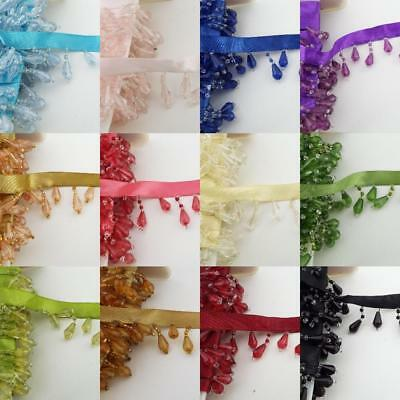 12 COLOUR 35mm Ribbon Bead Trim Curtain Blind Fringe Trimming Lampshade BUY 1 2m • 5.25£