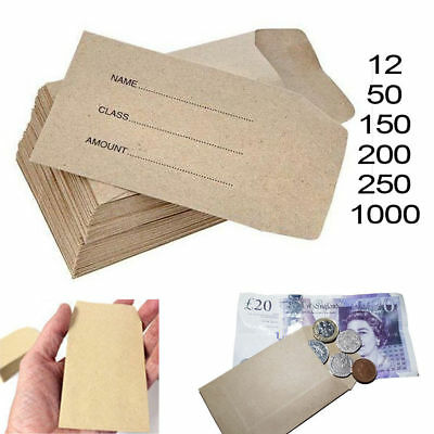 SMALL BROWN ENVELOPES 100x62mm DINNER MONEY WAGES COIN TUCK POCKET SEEDS BEADS • 2.99£