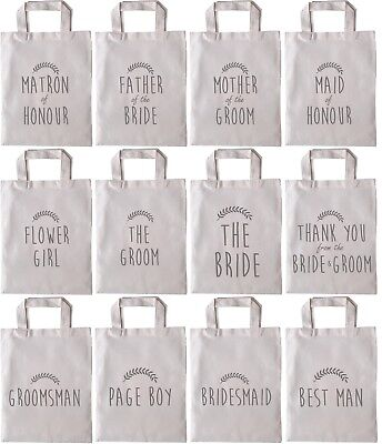 Wedding Favour Gift Bags ,Hen Party Cotton Tote Grey Canvas Bride Contemporary • 2.49£