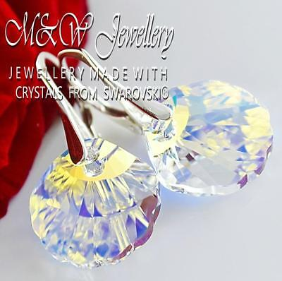 £14.99 • Buy 925 Sterling Silver Earrings Crystals From Swarovski® 16mm Shell - Crystal Ab