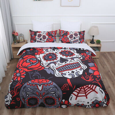 Sugar Skull Duvet Cover Bedding Set With Pillow Cases Single Double King Sizes • 25.99£