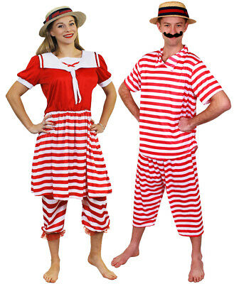 £29.99 • Buy Couples 1920s Bather Costume Victorian Bathing Suit Swimsuit Fancy Dress Outfit
