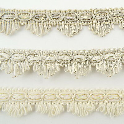 17mm Natural Linen Cotton Mix Fan Braid Dress Lampshade Edging Gimp BUY 1 2 4m • 3.50£