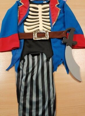 Childrens Blue Pirate Skeleton Halloween Fancy Dress Costume With Sword Aged 5-7 • 8.99£
