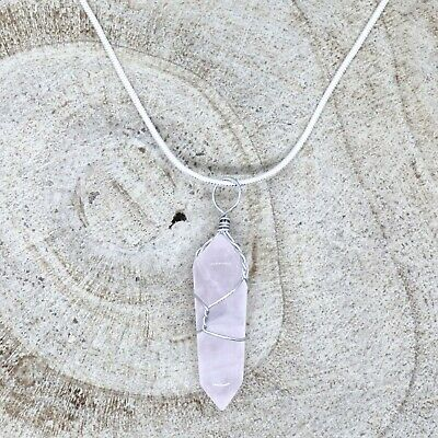 Rose Quartz Crystal Point Pendant 30mm With 20  Silver Necklace Love Healing • 4.95£