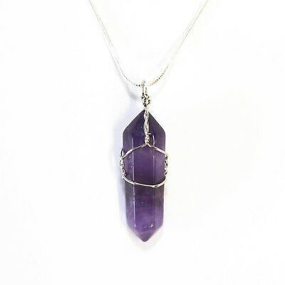 Amethyst Crystal Point Pendant 30mm With 20  Silver Necklace Meditation Calming • 4.95£