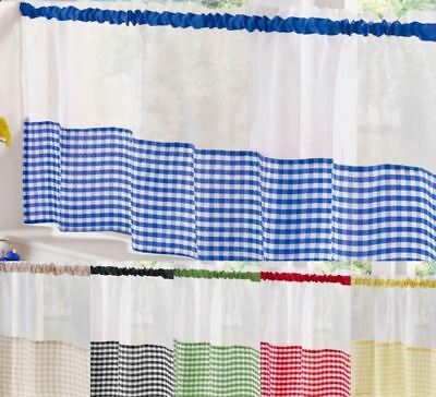 £9.39 • Buy Kitchen Voile Ready Made Café Net Curtain Panel Gingham Design 18  Or 24  Drop