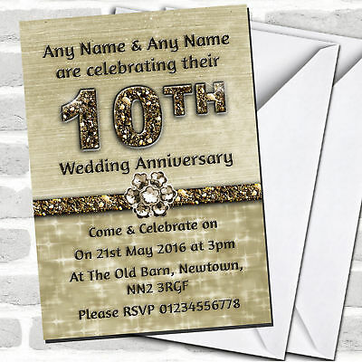 Titanium Gold Sparkly 10th Anniversary Party Invitations • 90.02£