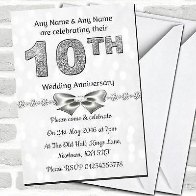 White Bokeh & Silver Glitter Look 10th Anniversary Party Invitations • 90.02£