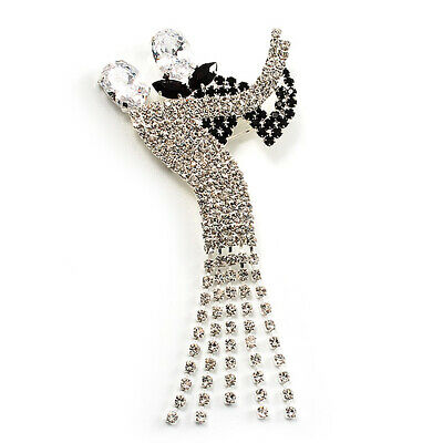 'Dancing Couple' Crystal Brooch (Clear&Black) • 24£