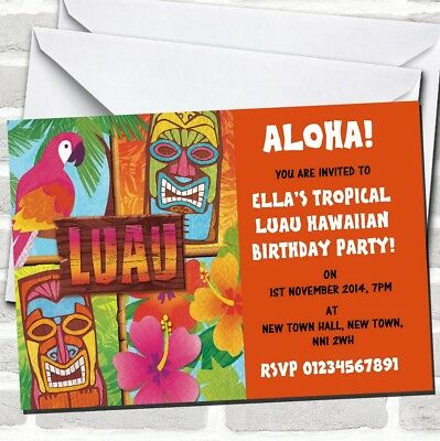 Orange Hawaiian Tropical Luau Party Invitations • 89.12£