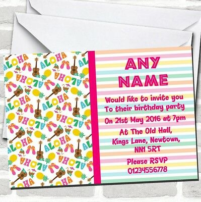 Stripy Tiki Hawaiian Tropical Luau Birthday Party Invitations • 89.12£