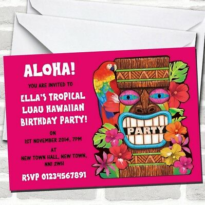 Pink Tropical Luau Hawaiian Party Invitations • 89.12£
