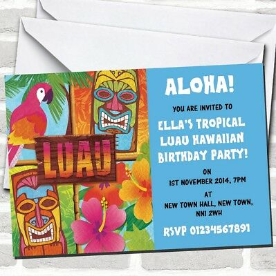 Aqua Hawaiian Tropical Luau Party Invitations • 89.12£