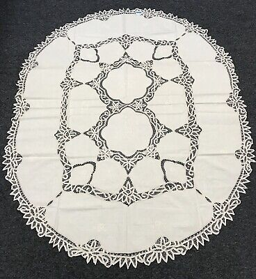 $32 • Buy 72x108'' Rectangle White Embroidered Lace Tablecloth 12 Napkins Party Banquet