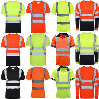 £9.90 • Buy Hi Vis Viz Polo T Shirt High Visibility Reflective Tape Safety Security Work Top