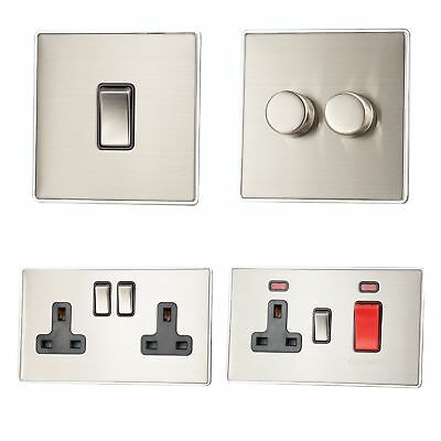 Screwless Brushed Steel LSS3 Plug Sockets, Light Switches, Dimmers, Cooker, Fuse • 12.95£
