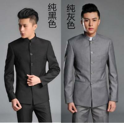 $51.68 • Buy Mens Chinese Traditional Coat Mandarin Banded Collar Single Breast Tunic Suit
