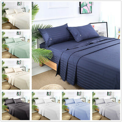 AU69.99 • Buy 1000TC Egyptian Cotton Queen Or King Size Bed Sheet Set (Stripe). 4 Pieces - New