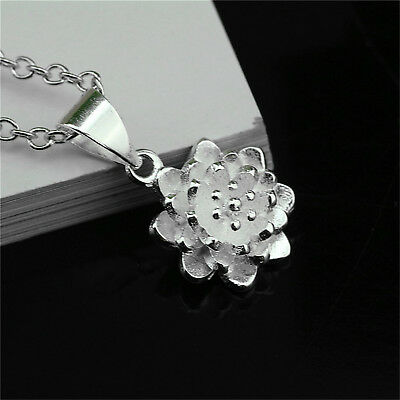 $ CDN3.28 • Buy 925 Sterling Silver Plated Lotus Flower Pendant Necklace Wedding Party Gift S14