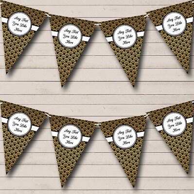 Black And Gold Personalised Wedding Anniversary Bunting Party Banner • 7.79£