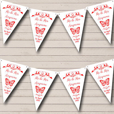 £7.79 • Buy Butterfly Red Personalised Wedding Anniversary Bunting Party Banner