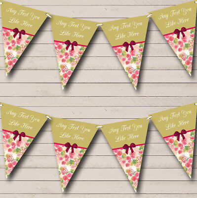 Green Pink Shabby Chic Vintage Wedding Anniversary Bunting Party Banner • 6.79£
