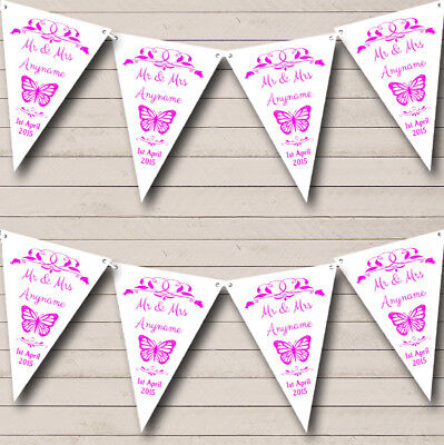 £7.79 • Buy Butterfly Hot Pink Personalised Wedding Anniversary Bunting Party Banner