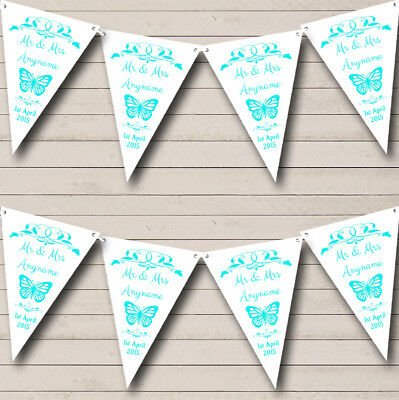 £7.79 • Buy Butterfly Aqua Personalised Wedding Anniversary Bunting Party Banner