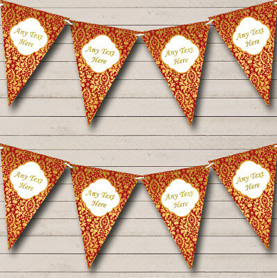 Red And Gold Vintage Regal Damask Personalised Wedding Bunting Party Banner • 6.79£