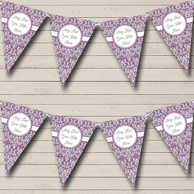 Lavender Purple And Silver Damask Personalised Wedding Bunting Party Banner • 7.79£