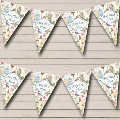 Shabby Chic Bird Butterfly And Birdcage Wedding Bunting Party Banner • 7.79£