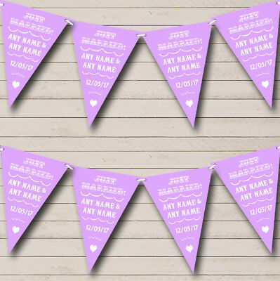 Vintage Just Married Lilac Purple Personalised Wedding Bunting Party Banner • 7.79£