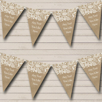 Burlap And Lace Personalised Wedding Bunting Party Banner • 6.79£