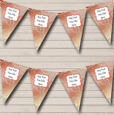 Beautiful Coral Pink And Diamond Look Personalised Wedding Bunting Party Banner • 6.79£