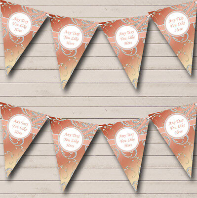 Stunning Diamond Look And Coral Wedding Venue Or Reception Bunting Party Banner • 6.79£